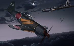 Picture the sky, clouds, night, figure, art, fighters, American, aircraft, Japanese, lined, strategic, WW2, bombardirovshik, Kawasaki, …