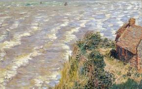 Wallpaper sea, wave, landscape, house, Claude Monet, Custom Varangeville, Artin