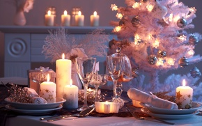 Picture decoration, table, holiday, candles, lights, glasses, plates, New year, garland, holidays, candles, Christmas balls, elegant, …