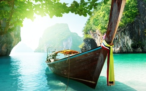 Picture mountains, sunlight, sea, boats, trees, the ocean, beautiful, sunlight, Islands, sky, Thailand, clouds, beautiful, Ocean, ...