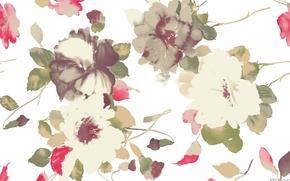Picture flowers, background, paint