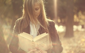 Picture the wind, girl, book, hair
