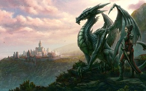 Picture dragon, look, people, the city, kerem couplets