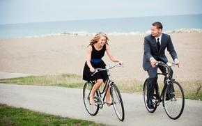 Picture mood, woman, male, walk, bikes