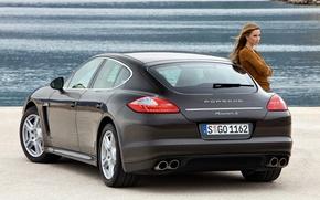 Picture water, girl, Porsche