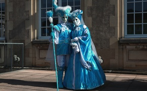 Picture dress, mask, pair, costume, Venice, carnival, rod