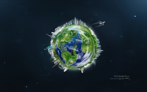 Picture city, earth, green, planet, earth, space, road, minimalism, stars, airplane, planet, abstraction