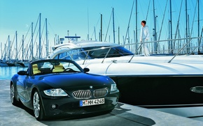 Wallpaper yacht, BMW, pier