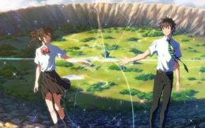 Picture girl, anime, art, guy, Kimi no VA On, Your name