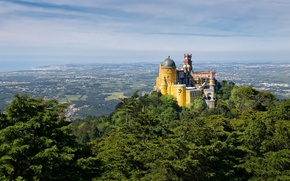 Picture mountain, the Pena Palace, Portugal, castle, tower, the sky, the dome, valley