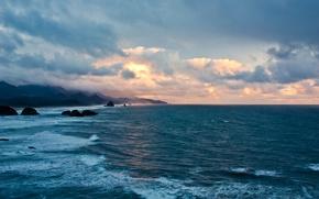 Picture sea, cloud, sun, good, wave