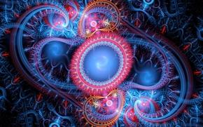 Picture line, circles, background, patterns, curves, fractal