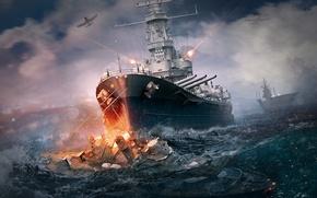 Picture sea, squirt, ships, battle, aircraft, shooting, Taran, World Of Warship