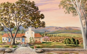 Picture picture, painting, painting, Ranch-Rabbits Ojai-, Barbara Thomas