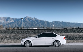 Picture white, the sky, mountains, bmw, BMW, profile, white, wheels, drives, e90
