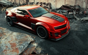 Picture car, auto, carbon, red, carbon, Chevrolet Camaro, chrome, Chevy Camaro