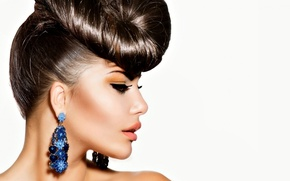 Picture girl, makeup, hairstyle, earrings, Anna Subbotina