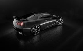 Picture Nissan, GT-R, Car, Black, Studio, Back, R35, Sport