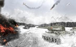 Picture smoke, art, tank, T-34-85, Soviet Tank, War thunder