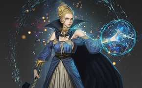 Picture look, water, girl, magic, ball, dress, art, Youngmin suh