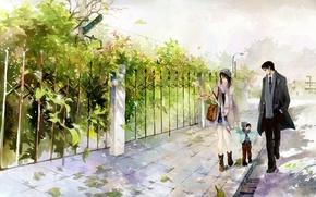 Picture foliage, figure, family, walk, child, he he wu