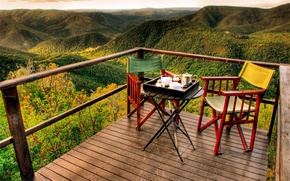 Picture panorama, mountains, view, morning, romantic, early, tea, adventures, balcony, Breakfast