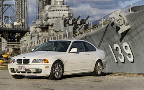 Picture pier, promenade, cruiser, BMW 330Ci E46 Coupe, BMW E46, USS Salem