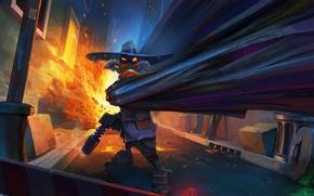 Wallpaper the explosion, gun, Black, hat, mask, cloak, superhero, alley, tank, garbage