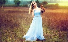 Picture girl, owl, dress, Inese Stoner, Athene