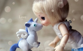 Picture tenderness, doll, unicorn, love