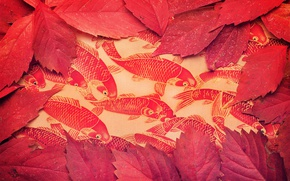 Wallpaper leaves, background, color, fish