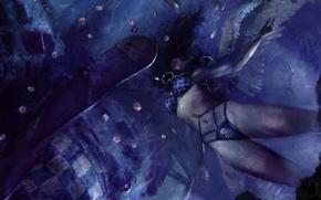 Wallpaper girl, blue, wings, fish