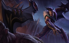 Picture the sky, wall, blood, laughter, armor, power, battle, male, axe, the corpse, League of Legends, ...