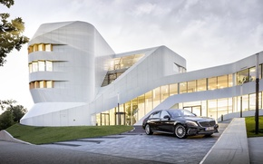 Picture road, the sky, background, the building, Mercedes-Benz, car, sedan, AMG, 2014, S65