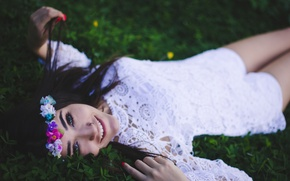 Picture girl, smile, dress, brunette, lies, wreath, smiling
