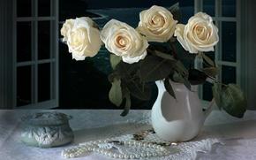 Picture style, roses, bouquet, necklace, vintage