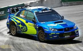 Picture Road, Blue, Subaru, Impreza, Machine, Asphalt, WRC, Rally, Rally