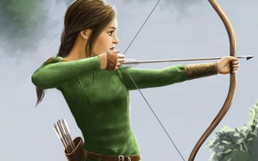 Picture girl, bow, Archer, art, profile, Harbinger Chronicles, Katrina