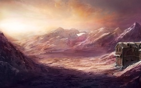 Wallpaper cold, snow, landscape, mountains, house, the building, art, Max Antonov