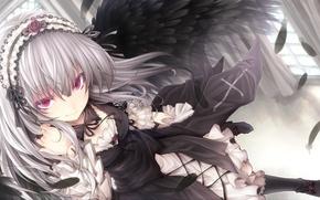 Picture look, girl, flight, smile, wings, feathers, rozen maiden, suigintou, art, tousen