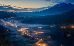 Picture mountains, lights, fog, the evening, morning, valley, Bali