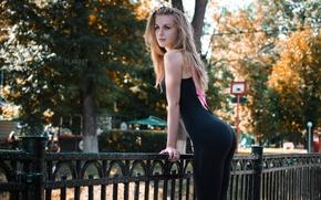 Wallpaper autumn, girl, the sun, trees, the city, street, figure, slim, the fence, blonde, bokeh, Viktoria ...
