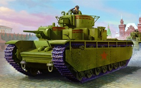 Picture art, painting, tank, Soviet T-35 Heavy Tank (Early)