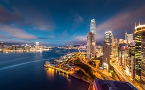Picture the sky, lights, building, Hong Kong, skyscrapers, the evening, Bay, megapolis, Hong Kong