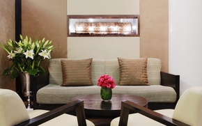 Picture flowers, table, furniture, interior