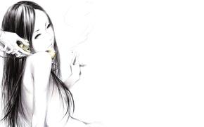 Picture girl, smoke, Figure, hands, cigarette, handset, art, Sawasawa