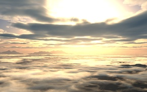 Picture the sky, clouds, sunset, dawn, view, height, art