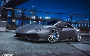 Picture Lamborghini, City, Front, Grey, Supercar, Wheels, Huracan, HRE, by Gurnade, LP640-4, Nigth