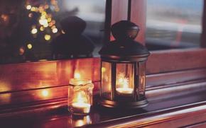 Wallpaper lights, Christmas, home, candles, lantern