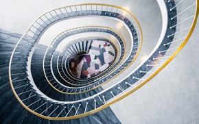 Wallpaper handrail, spiral, stair, staircase